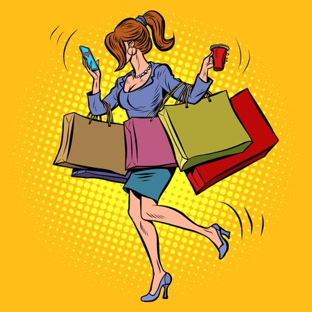 Illustration for Business woman with shopping - Royalty Free Image