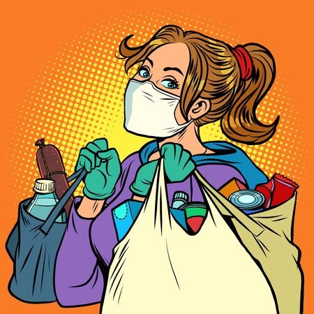 Illustration for a woman in a medical mask with bags of food. Comics caricature pop art retro illustration drawing - Royalty Free Image