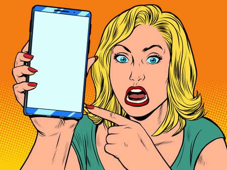 Illustration pour Furious woman and smartphone - image libre de droit