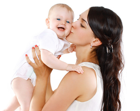 Photo pour Portrait happy mother and baby - image libre de droit