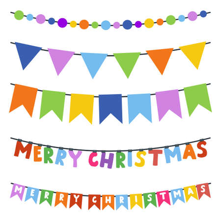 Illustration for Christmas bunting garland vector cartoon set isolated on a white background. - Royalty Free Image