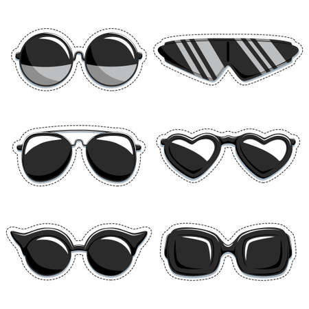 Illustration pour Silhouette of sunglasses vector set of stickers. Fashion decorative labels. Collection of design elements isolated on white background. - image libre de droit