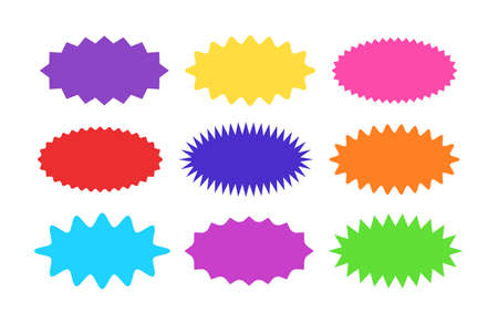 Illustration for Starburst sticker set - collection of colorful special offer sale oval sunburst labels and buttons isolated on white background. Stickers and badges in form of star for promotion campaign. - Royalty Free Image