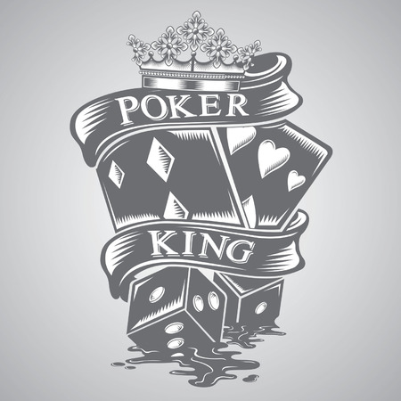 poker king tattoo vector