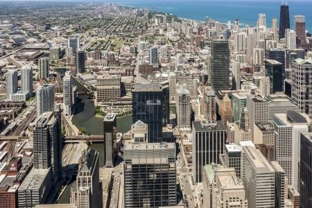 Chicago urban skyline panorama aerial view