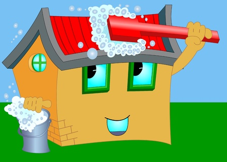 Illustration pour Illustration of a cartoon house with the washing brush and a bucket - image libre de droit