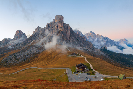 Dolomites mountains the Passo di Giau, Monte Gusela at behind  Nuvolau gruppe at sunset in South Tyrol, Italy