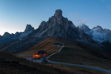 Dolomites mountains the Passo di Giau, Monte Gusela at behind  Nuvolau gruppe at night in South Tyrol, Italy