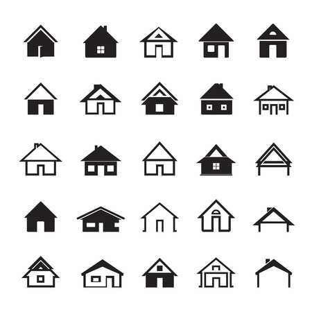 Illustration for Set of Black Icons of Houses - Royalty Free Image