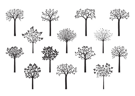 Illustration pour Trees in Park. Plants in garden and Forest. Vector Illustration. Shape of plants. Vector Illustration. - image libre de droit