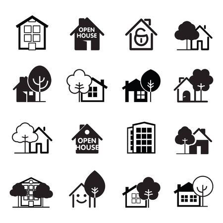 Illustration for Set of black house icons. Buildings line icons. Vector Illustration. - Royalty Free Image