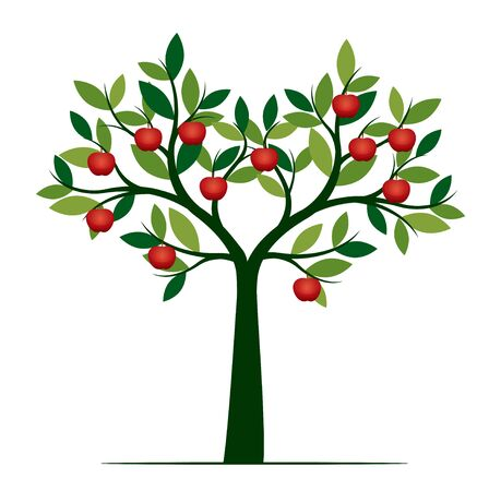 Illustration pour Green Isolated Tree on white background. Red Apple Fruits. Vector Illustration and concept. Plant in garden. - image libre de droit