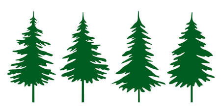 Illustration pour A set of green Christmas Trees. Winter season design elements and simply pictogram collection. Isolated vector xmas Icons and Illustration. - image libre de droit