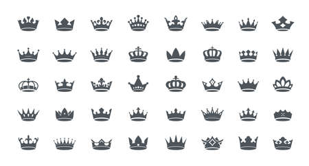 Illustration pour A set of gray vector king crowns icon on white background. Vector Illustration. Emblem, icon and Royal symbols. - image libre de droit