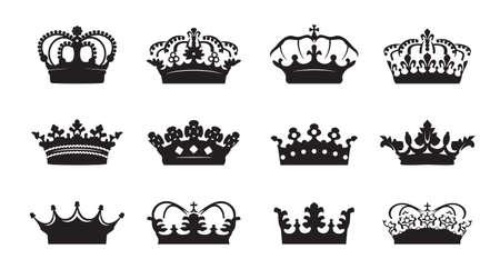 Illustration pour Set vector king crowns icon on white background. Vector Illustration. Emblem, icon and Royal symbols. - image libre de droit