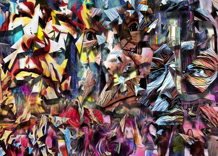 Complex abstract painting. Colorful mosaic elements and pieces of men's faces.