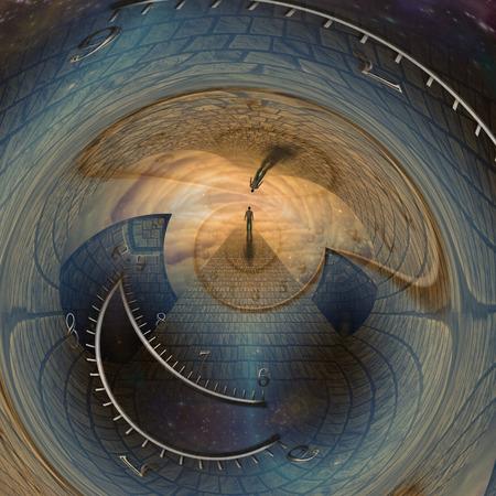 Photo pour Man journeys through doorway of time - image libre de droit