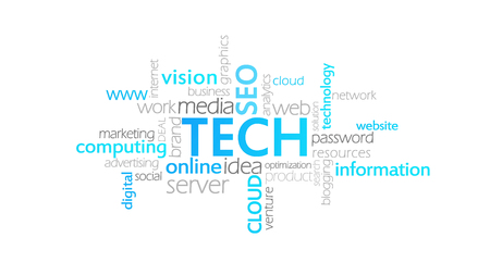 Tech, Typography Animation, word cloud concept illustration