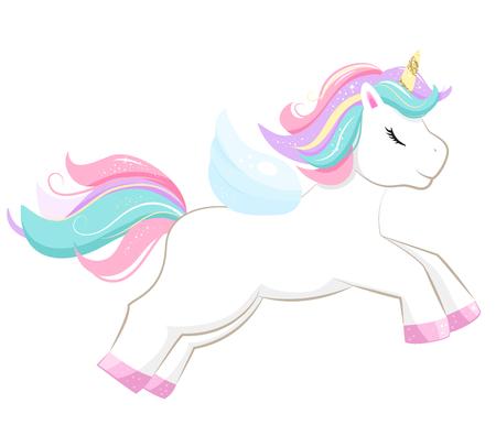 Illustration for Cartoon unicorn jumps. Isolated on white background. Vector illusrtation. - Royalty Free Image