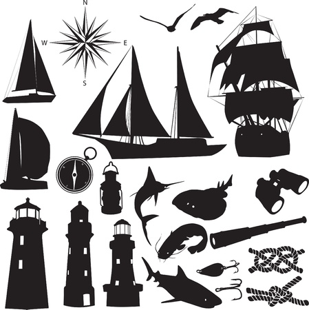 silhouettes symbolize the marine leisure