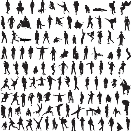 Photo for more than 100 different silhouettes of men - Royalty Free Image
