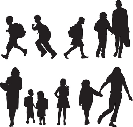 silhouettes, of children walking to school