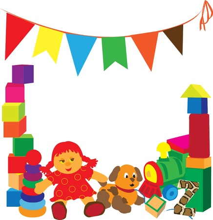 bright frame with different toys