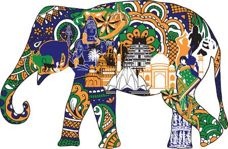 Ilustración de elephant with Indian symbols - Imagen libre de derechos