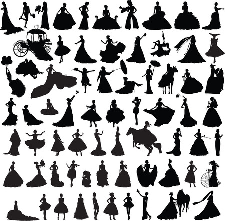 set of silhouettes of girls with wedding dresses in different poses