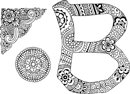 letter B decorated in the style of mehndi
