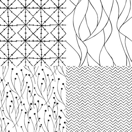 Set of seamless backgrounds with abstract patterns.