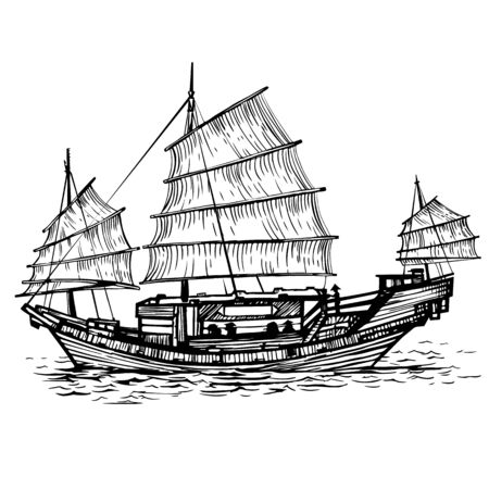 Illustration for Black and white vector illustration of Chinese ship - Royalty Free Image