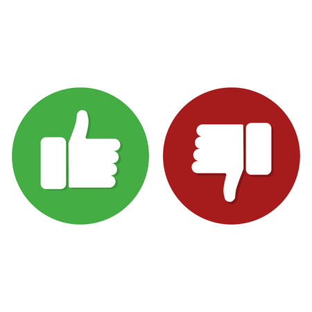 Illustration pour Thumb up thunb down green and red color white background internet symbol good or bad work. Flat design EPS10 - image libre de droit