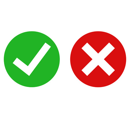 Illustration for Green checkmarck done and red x icon. Cross and tick signs. Flat icons for applications. EPS 10 - Royalty Free Image