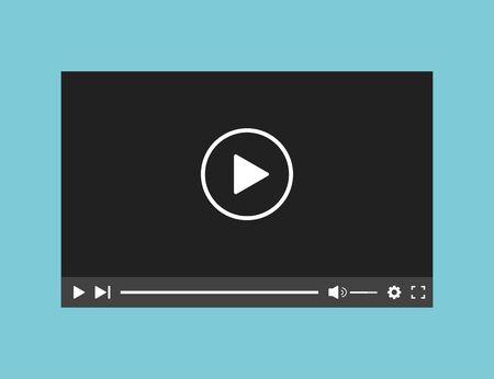 Illustration pour Video player web application interface template. Bar screen window application. - image libre de droit
