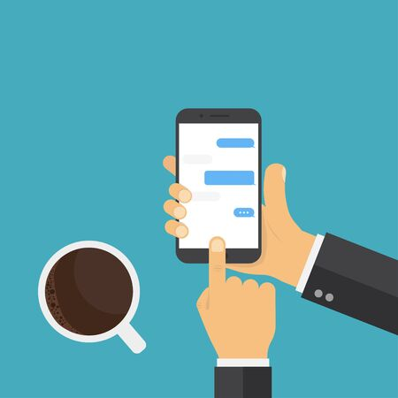 Illustration pour Hand holding smart phone. Coffee hand phone, great design for any purposes. Chat messages concept. - image libre de droit