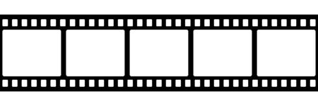 Illustration for Film strip isolated vector icon. Retro picture with film strip icon. Film strip roll. Video tape photo film strip frame vector. EPS 10 - Royalty Free Image