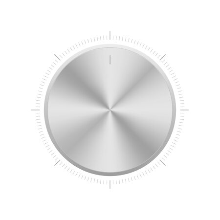 Illustration for Volume control knob tuner. Vector isolated illustration. Realistic aluminium level controller. - Royalty Free Image
