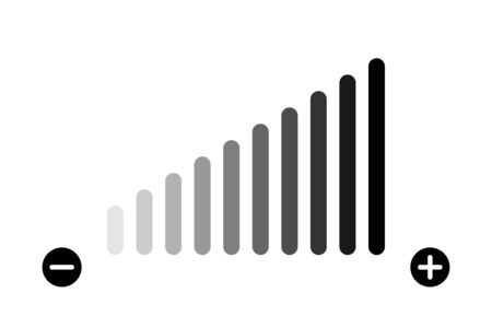 Illustration for Volume level adjustment. Vector isolated icon. Low fading icon. Volume bar vector icon. - Royalty Free Image