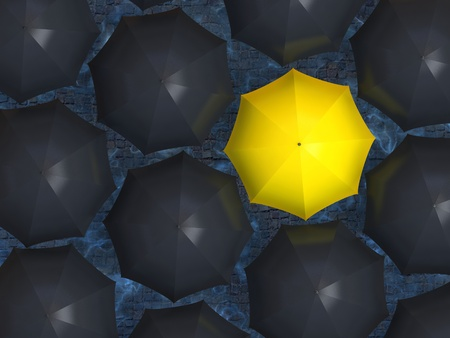 Bright yellow umbrella among set of black umbrellas