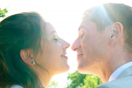 bride and groom faces closeup