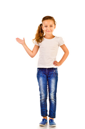 little girl isolated on a white background