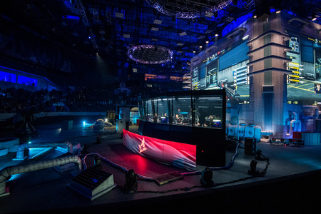 SAINT PETERSBURG, RUSSIA - OCTOBER 28 2017: EPICENTER Counter Strike: Global Offensive cyber sport event. Main stage of the event, cabin with players and big screen and people on a background.