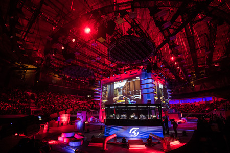 SAINT PETERSBURG, RUSSIA - OCTOBER 28 2017: EPICENTER Counter Strike: Global Offensive cyber sport event. Players cabin with team SK Gaming inside and big screens on background