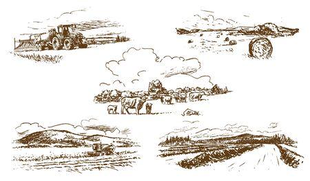 Illustration pour Agricultural Countryside Landscape Set of Hand-Drawn Illustrations (Vector) - image libre de droit