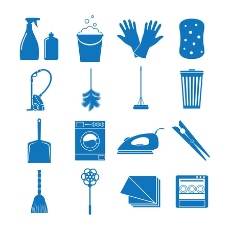 illustration icons on cleaning