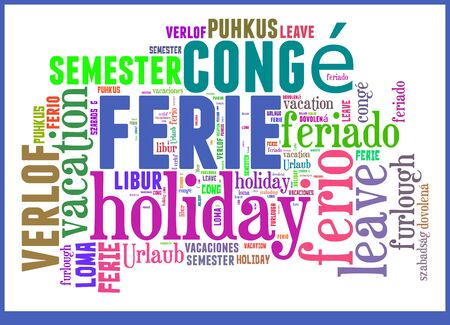 Wordcloud with international expressions for the word Vacation