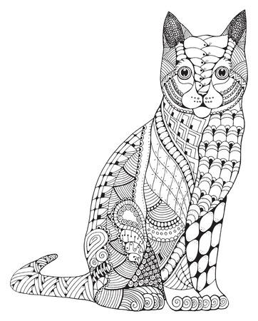 Illustration pour Cat zentangle stylized, vector, illustration, pattern, freehand pencil, hand drawn. Zen art. Ornate. Lace. Print for t-shirts and coloring books. - image libre de droit