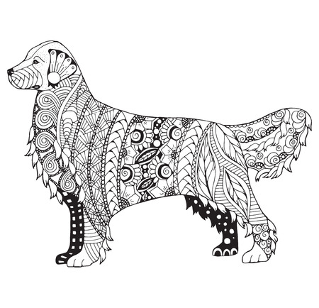 Ilustración de Golden retriever dog zentangle stylized, vector, illustration, freehand pencil, pattern. Zen art. Black and white illustration on white background. Adult anti-stress coloring book. Print for T-shirts. - Imagen libre de derechos