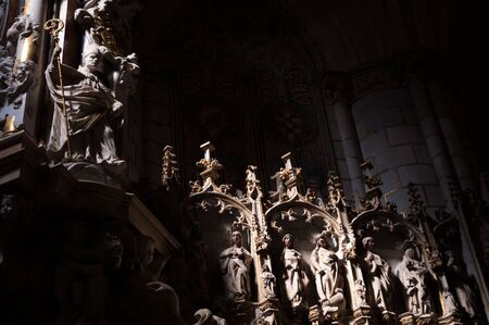 Toledo Cathedral sculptures diagonally sunlit